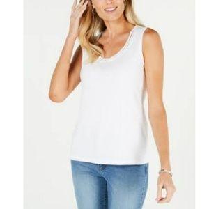 Karen Scott: Women Embellished-Neck thank Sz L